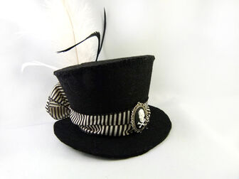 Black and white striped skull cameo mini top hat by angelyques-d5ky8bv