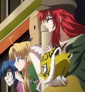 Rias' Group trailing Akeno and Issei during Date