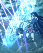 Tsubaki shielding Sona from incoming Attacks