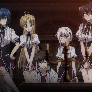 De izquierda a derecha: Rias Gremory, Xenovia, Asia Argento, Issei Hyōdō, Koneko Tōjō, Akeno Himejima y Yūto Kiba.