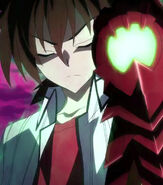 Issei with his Boosted Gear against Diodara's Peerage