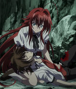 Rias tending to a mortally wounded Issei