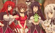 Rias, Akeno, and Koneko with their familar