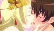 Issei imagines Yasaka kissing him