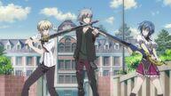 Kiba and Xenovia pointing their sword at Vali