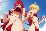 Rias & Kunou in Red Bikinis