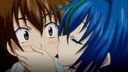 Xenovia kisses Issei on cheek