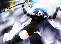 Xenovia dual wielding the Durandal and Ascalon