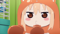 Umaru squeeks to her hamsters