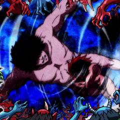 Tenma faces Hundred-Thousand Demon Drop.