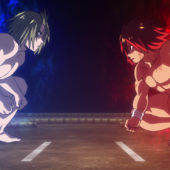 Hinomaru and Mizuki face off in the ring.