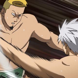 Takumi being overwhelmed by Yūma's strikes.
