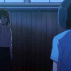 Saki asks Hinomaru if Kuze Sōsuke was stronger than Norihiro.