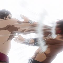 Sōsuke lands a blow.
