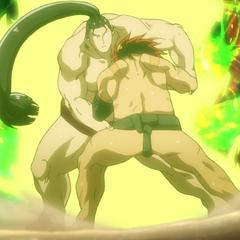 Hinomaru struggles against Sōsuke.