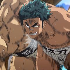 Kunisaki attempting to take down Araki.