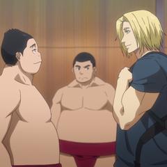 Daniel joins Eigadai Affiliated High School's Sumo Club.