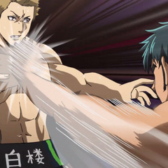 Chihiro slaps Akihira's hand away.