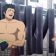 Hinomaru helps Takuya with chores.