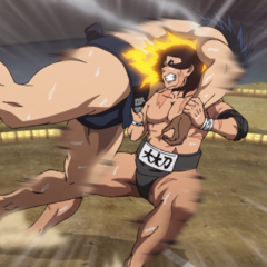 Hinomaru uses a falling technique on Shidō.