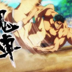 Kunisaki uses Ushio's move to defeat Araki.