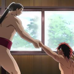 Sōsuke and Hinomaru bump into each other.