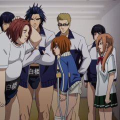 Shidō observes Inter High Finals with his team.