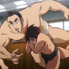 Norihiro being lifted during Hinomaru's training.