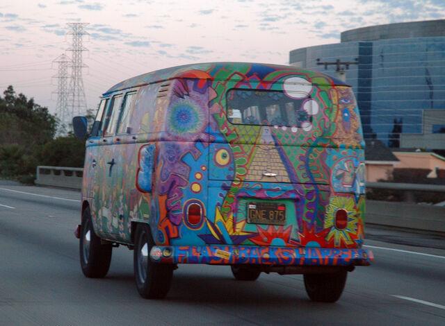 File:VW Bus T1 in Hippie Colors.jpg
