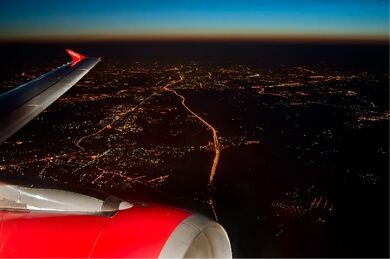 Moscow at night from the air Beltyukov
