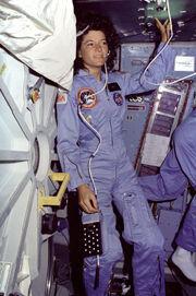 Sally Ride on the Middeck