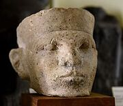 Limestone head of a king. Thought by Petrie to be Narmer. Bought by Petrie in Cairo, Egypt. 1st Dynasty. The Petrie Museum of Egyptian Archaeology, London