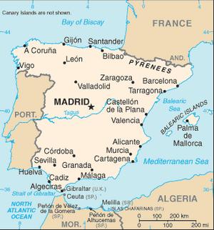 Spain-CIA WFB Map