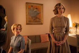 """Scarlett Johansson as """"Janet Leigh"""" and Jessica Biel as """"Vera Miles"""" on the set of HITCHCOCK. Photo By Suzanne Tenner"""