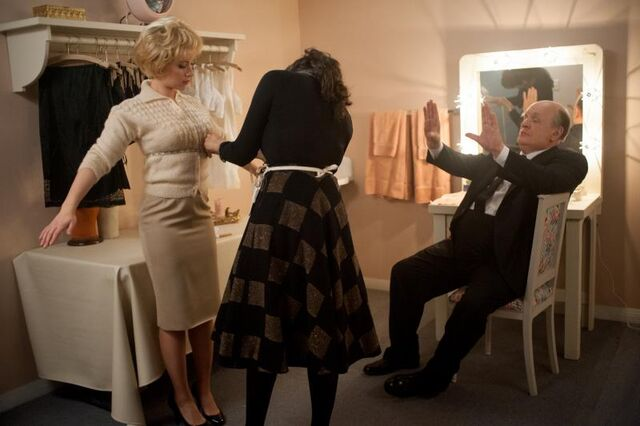 """File:Scarlett Johansson as """"Janet Leigh"""" and Anthony Hopkins as """"Alfred Hitchcock"""" on the set of HITCHCOCK. Photo By Suzanne Tenner.jpg"""