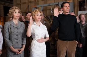 """Jessica Biel as """"Vera Miles,"""" Scarlett Johansson as """"Janet Leigh"""" and James D'Arcy as """"Anthony Perkins"""" on the set of HITCHCOCK"""