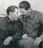Nikolai Yezhov conferring with Stalin