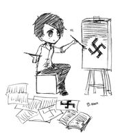 Hitler Drawing Swastika