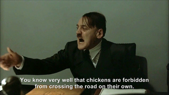 Hitler is informed the chicken crossed the road