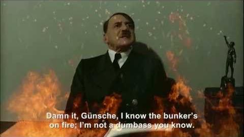 Hitler is informed the bunker's on fire