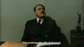 Hitler is informed Labour MP resigns over SNP Downfall parody