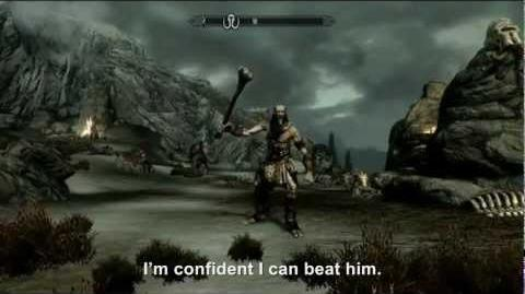 Hitler encounters a Giant in The Elder Scrolls V Skyrim