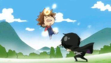 Tsuna easily defeated by Hibarin