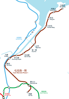 Tuen Ma Line Phase 1 Geograpical Map