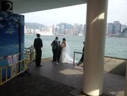 Some people take wedding photo in Tsim Sha Tsui Public Pier