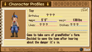 Toy Character Profile