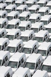 Parked-white-vans