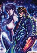 Ryo Saeba and Hitomi Kisumi by Tetsuo Hara