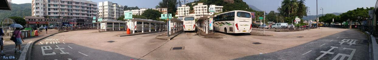 Mui Wo Ferry Pier Bus Terminus Panorama 201509