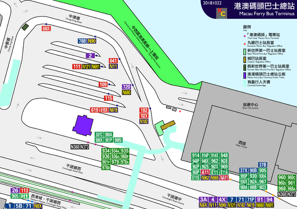 Macau Ferry Bus Terminus layout map 20181022